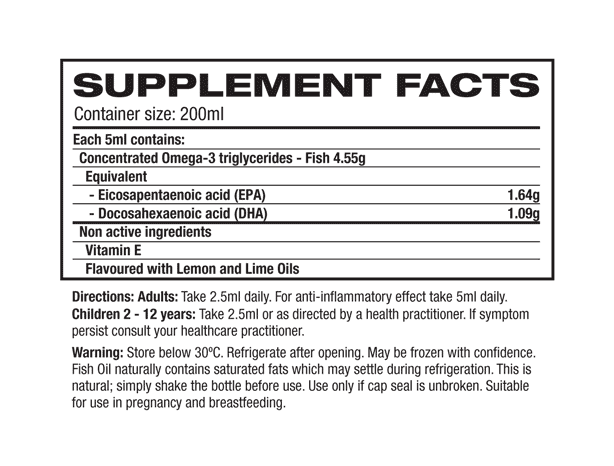 Melrose - High Strength Fish Oil supplement facts