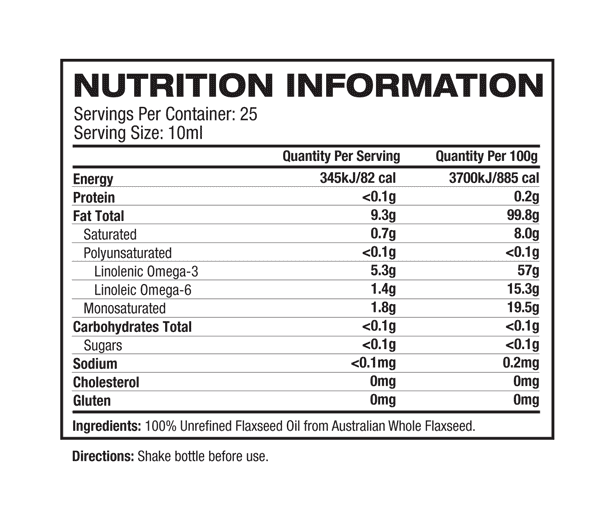 Melrose - Omega Flaxseed Oil Chemical Free nutritional information