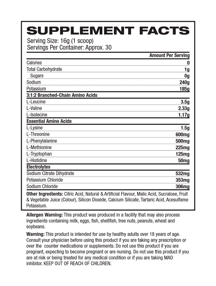 Muscle Pharm - COMBAT BCAA + RECOVERY Supplement Facts