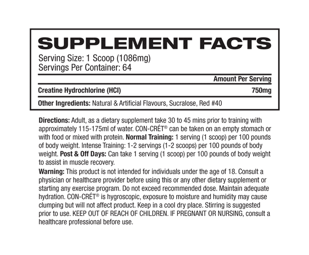 Supplement Facts about ProMera Sports - CON-CRET CREATINE HCL