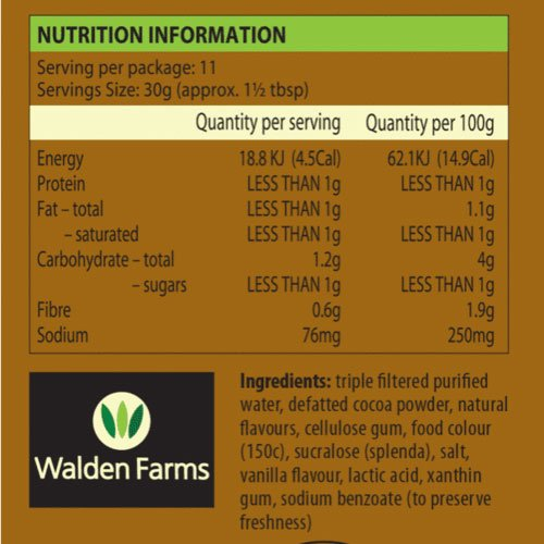 Walden Farms - Chocolate Syrup Nutrition Information