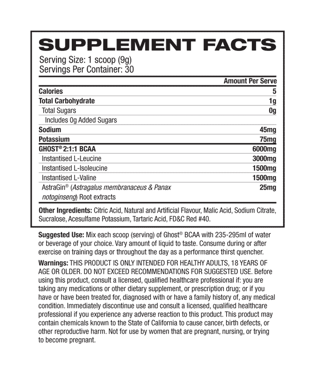 Nutritional Info about  GHOST - BCAA